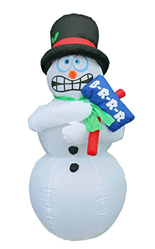 BIGJOYS 6 Ft Inflatable Christmas Shiver Snowman Decoration Shaking Snowman Decorations for Indoors Outdoors Yad Home Garden Lawn ()