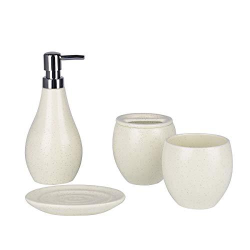 White Bathroom Accessories Set - 4 Pieces Bath Ensemble Set with Liquid & Lotion Dispenser Soap Dish and 2 Tumbler Tiny Polk Soap Dispenser Set for Bathroom Countertop Ceramic Bathroom Set...