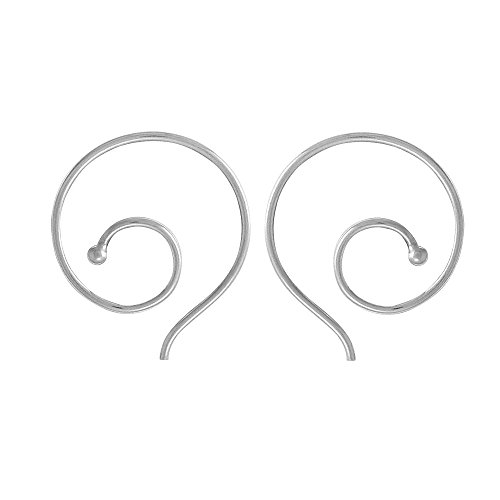Boma Jewelry Sterling Silver Spiral Pull Through Hoop (Silver Spiral Earrings)
