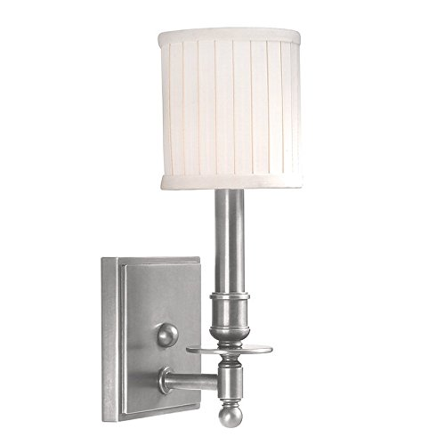 Sconce - Satin Nickel Finish with Off White Linen Shade (Palmer Fixture White Metal)