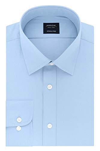 Arrow 1851 Men's Regular Fit Dress Shirt Poplin, Robins Egg Blue, 17