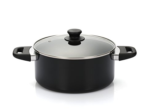 Finnhomy 15 Pieces Super Value Cookware Set All Purpose FDA Approved Hard Double Nonstick Coating PTFE PFOA Free Kitchen Pots Pan Set Professional Home Restaurant Aluminum, Black