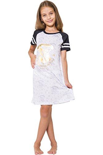 Harry Potter Big Girls' Hermione Granger 'Hogwarts Draco Gold Wizard Crest' Raglan Costume Pajama Nightgown, White, 7