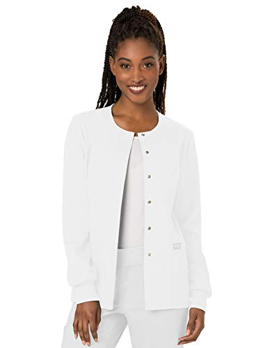 Cherokee Boys Jacket - Cherokee Women's Snap Front Warm-up Jacket, White, XX-Large