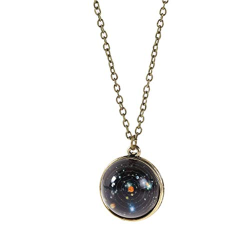 JczR.Y Eight Planets Necklace Pendant Double-Sided Glass Ball Universe Galaxy Solar System Guardian Stars Necklace for Women