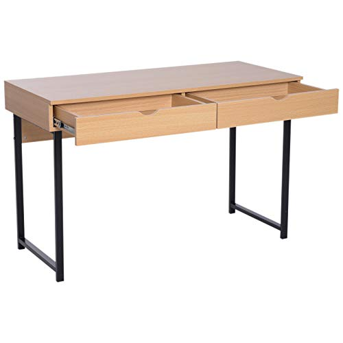 Price comparison product image Modern Computer Table Storage Study Woirking Desk with Slide Out Drawers Wood