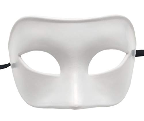 Coolwife Mens Masquerade Mask Greek Roman Party Mask Mardi Gras Halloween Mask (A White) -