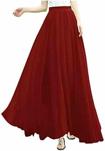 9237f57be87 v28 Women Full ankle Length Elastic Pleated Retro Maxi Chiffon Long Skirt