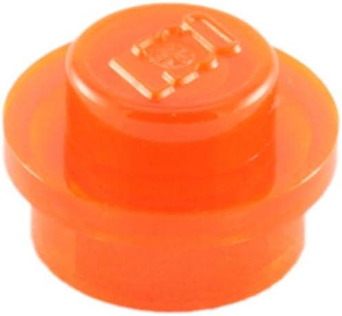 Brick Building Sets Original Parts: Element #4073 Round Plate 1 x 1 Stud (ServicePack of 8 - Transparent Neon Orange)