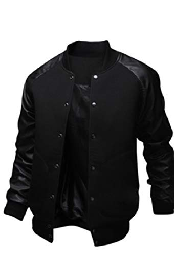 security Stand Black Mens Jackets Collar Bomber Coat Baseball Casual ZOqZwFv
