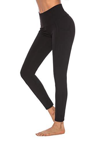 OVESPORT Women High Waist Ankle Length Workout Skinny Active Yoga Sports Leggings(2208Black,M)