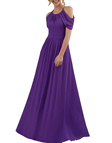 Meaningful Women's Off Shoulder Chiffon Prom Dresses Long Halter A-line Bridesmaid Evening Party Formal Gowns Size 20plus Purple