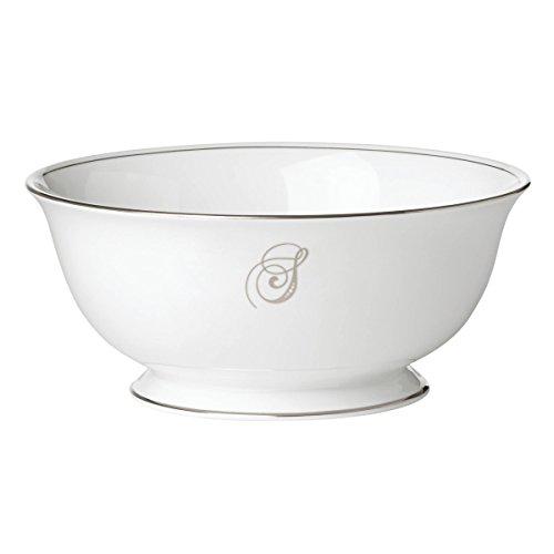 (Lenox Federal Platinum Script Monogram Dinnerware Serving Bowl, S)
