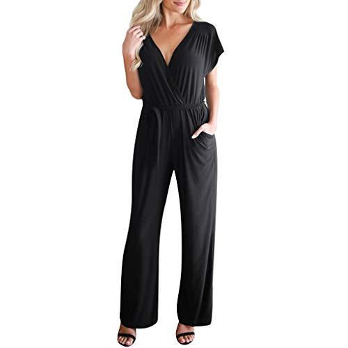 Women Sexy Plus Size Solid Short Sleeve Bandage Long Loose Jumpsuit Bodysuit &ANJUNIE(Black,XXL)