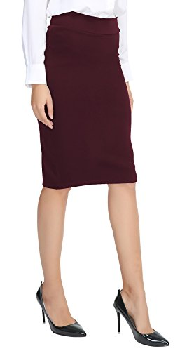- Urban CoCo Women's Elastic Waist Stretch Bodycon Midi Pencil Skirt (L, Wine red)