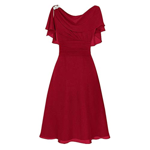Aunimeifly Ladies' Formal Wedding Dress Women Sexy Slash Neck High Waist Party Cocktail Ball Chiffon Dress Red