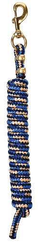 Weaver Leather Poly Lead Rope with Solid Brass 225 Snap, Navy/Blue/Tan