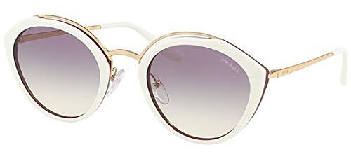 Prada Women's Oval Sunglasses, Ivory/Violet, Off White, Purple, One Size