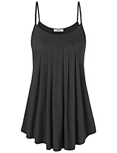 Youtalia Womens Sleeveless Camisole Shirts Pleated Front Casual Spaghetti Strap Tank Tops