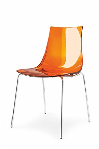 Connubia LED Chair - Steel Stained Chromed Frame - Styren Acrylonitrile Transparent Orange Seat