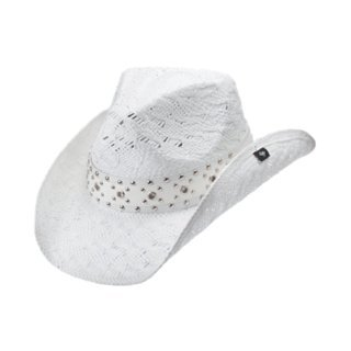 Peter Grimm Ltd Women's Lithia Studded White Straw Cowgirl Hat White One Size