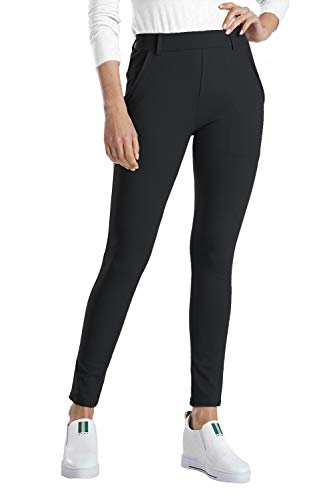 Balleay Art Women's Stretch Skinny Fit Work Pull-On Slim Dress Yoga Pants w/Tummy Control (Black,XL)