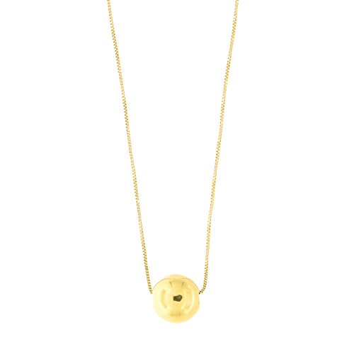 14k Yellow Gold Box Chain 9mm Polished Ball Bead Pendant Necklace, 22