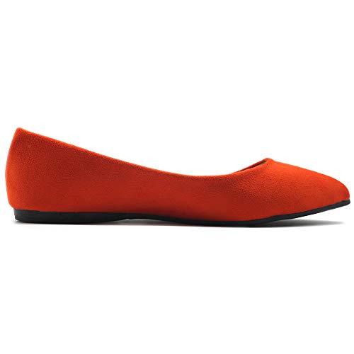 Ollio Women's Ballet Comfort Light Faux Suede Multi Color Shoe Flat