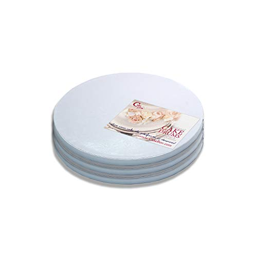 Cake Drums Round 10 Inches - Sturdy 1/2 Inch Thick - Professional Smooth Straight Edges (White, 3-Pack)