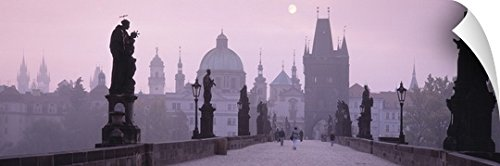 Canvas On Demand Wall Peel Wall Art Print entitled Charles Bridge and Spires of Old Town Prague Czech Republic - Town Charles Center