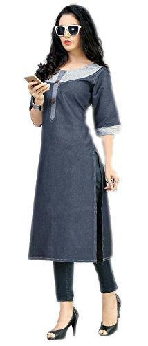 Jayayamala Frauen Graue Baumwolle Beiläufiges Kleid, Knielänge Kleid, Art und Weisetunika
