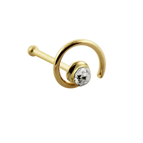 9 Karat Solid Yellow Gold Clear Crystal Stone Coil Flower 22 Gauge Ball End Nose Stud Piercing Jewelry -