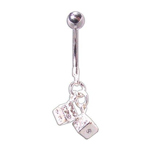 Swarovski Crystal Dice Charm Dangling Navel Ring