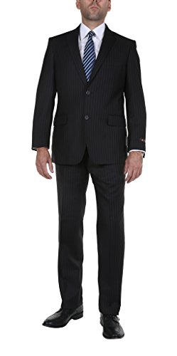 Pinstripe 2 Button Suit - P&L Men's Classic Fit 2 Piece Pinstripe 2 Button Suit Jacket & Flat Front Pants Pants Set