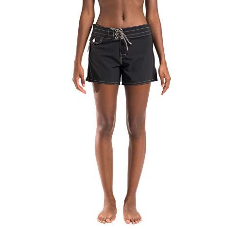 (Birdwell Women's Stretch Board Shorts - Long Length (Black,)