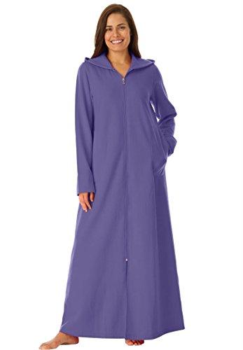 Dreams & Co. Women's Plus Size Long Ultra-Soft Fleece Hoodie Robe (Womens Plus Size Robes)