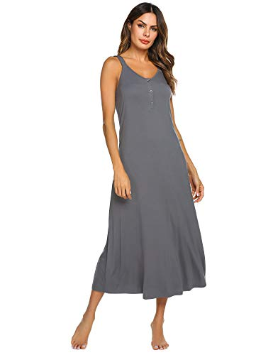 Ekouaer Women V Neck Long Nightgown Sleeveless Full Slip Night Dress Sleepwear (Dark Gray L)