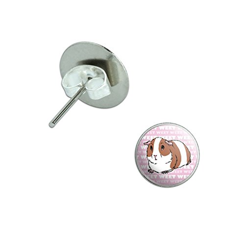 Guinea Pig - Pet Critter Pink Novelty Silver Plated Stud - Guinea Pig Earrings