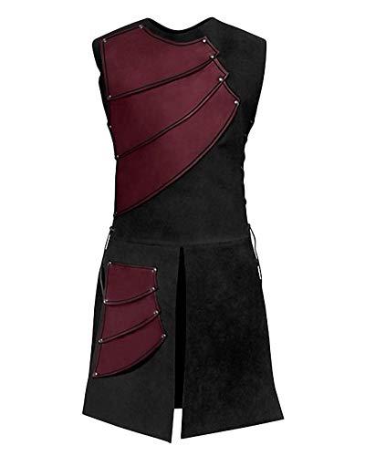 Pour Manches Halloween De Long Cosplay Sans Rouge Vin Hommes Renaissance Top Vestes Punk Gilet twqXTT