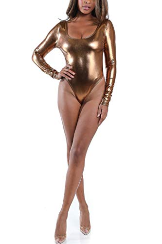 Karies Womens Sexy Backless Long Sleeve Shiny Metallic Spandex Thong Bodysuit(NJ3869) (Medium, Bronze)