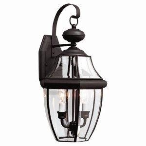 Sea Gull Lighting 8039-12 2-Light Lancaster Medium Outdoor Wall Lantern, Clear Beveled Glass and Black
