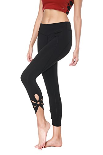Out Cut Out - X-Fit Sports Women Cutout Crop Leggings Capri Workout Tights Active Yoga Pants (Cutout Crop Black, M)