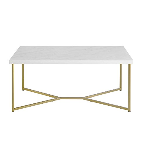 Marble Top Furniture - WE Furniture Short Rectangular Coffee Table Faux White Marble Top Gold Base