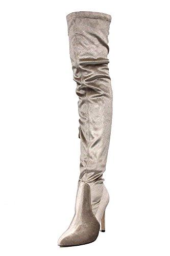 CAPE ROBBIN GB23 Women Velvet Thigh High Pointy Toe Stiletto Boot,6.5 B(M) ()