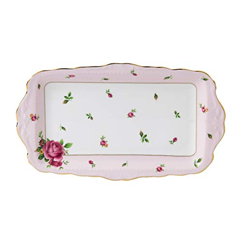 Royal Albert NCRPNK26137 New Country Roses Formal Vintage Rectangular Serving Tray, White (Rectangular Trays)