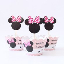 Minnie Mouse Cupcake Toppers and Wrappers Birthday Party Kit (Makes -