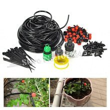 (25m)DIY Micro Drip Irrigation System Plant Automatic Self Watering Garden Hose Kits with Connector+30x Adjustable Dripper (Teflon String)