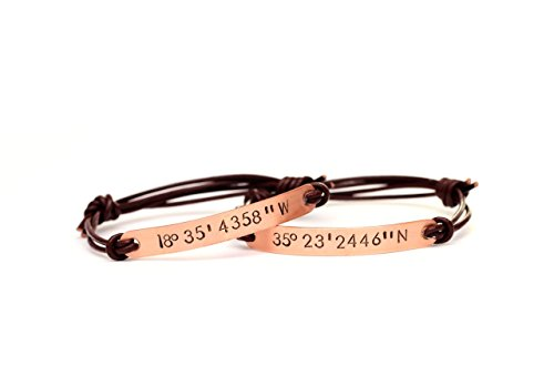 Personalized Coordinates Couple Bracelet Set with Adjustable Leather Cord