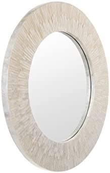 KOUBOO 1040142, Pearlescent White Round Capiz Seashell Sunray Wall Mirror