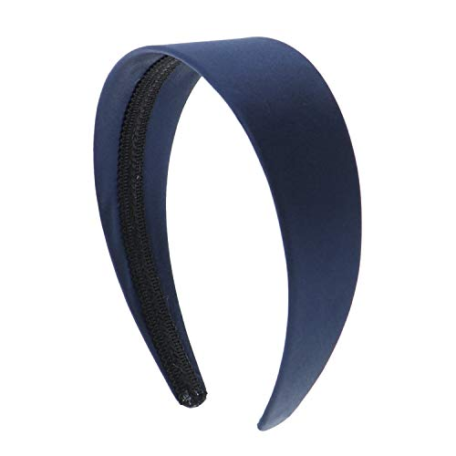 (Navy 2 Inch Wide Satin Hard Headband with No Teeth Head band for Women and Girls (Motique Accessories))